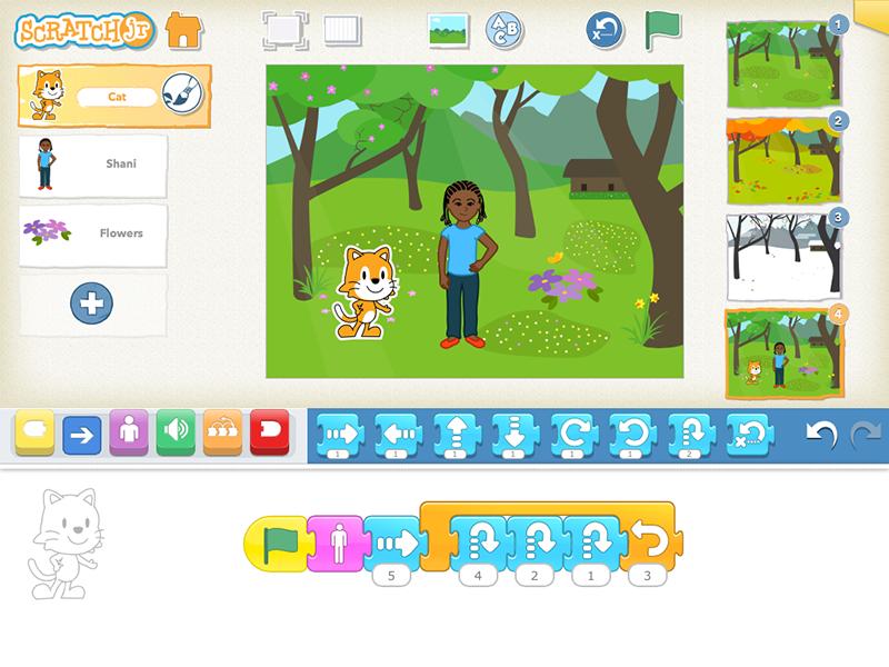 Als het gaat over programmeren voor kinderen denken veel mensen aan Scratch. Je hebt ook Scratch Jr, het kleine broertje van Scratch. Met Scratch Jr leren jonge kinderen (5-7jaar) hiermee hun eigen verhaal of spelletje maken. Je speelt Scratch op de tablet.
