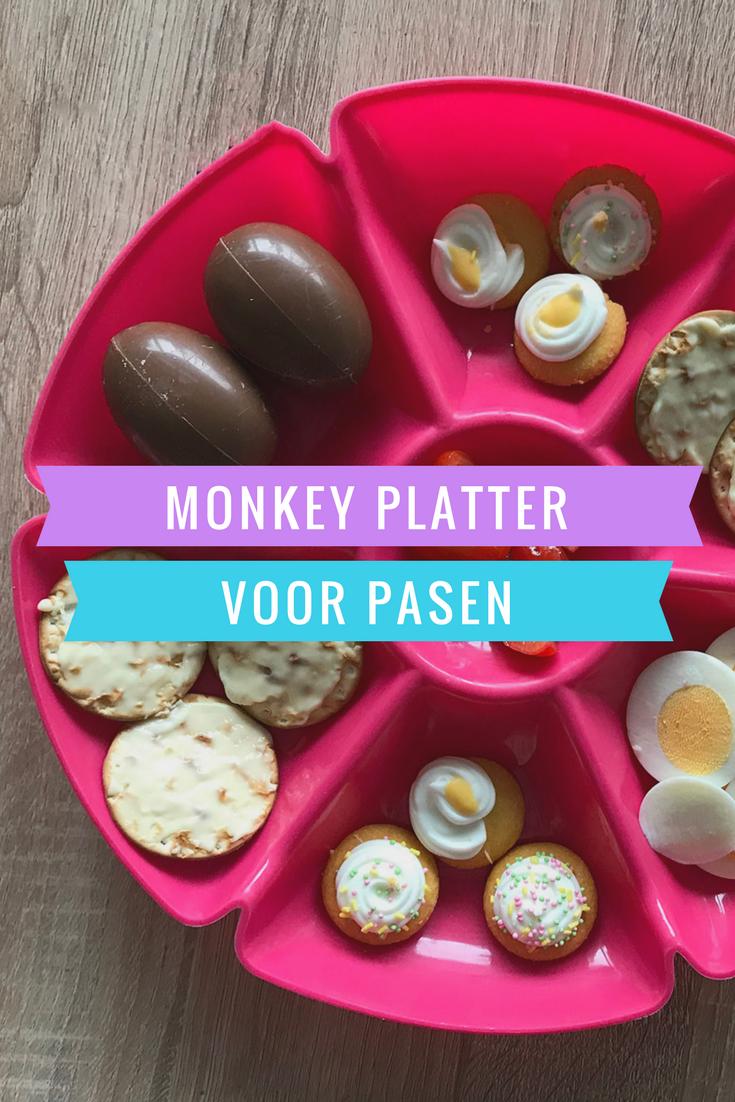Met deze monkey platter voor Pasen zet je een heel lekker en gezellig bordje vol met lekkers neer voor de kinderen. Je kunt de monkey platter vullen met gezonde en ongezonde producten. Succes gegarandeerd!