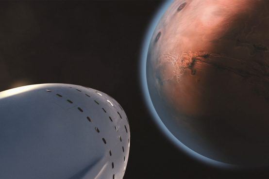 white space ship and brown planet